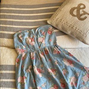 Light Denim Floral Sweetheart A-Line Dress